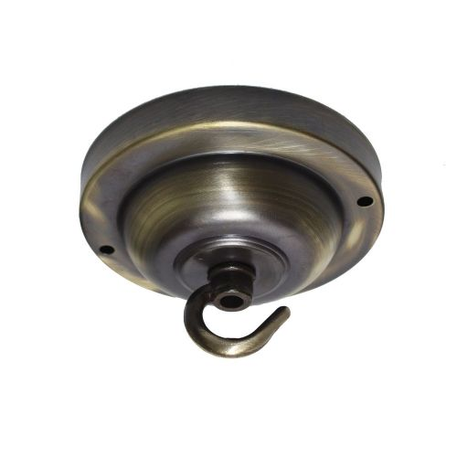 100mm Diameter Solid Brass Hooked Ceiling Rose Brushed  Antique Finish